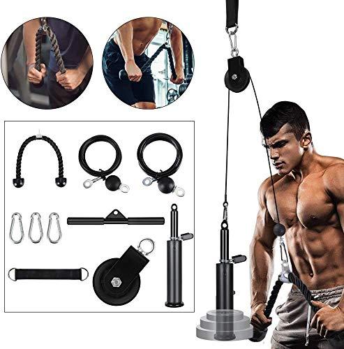 TOPQSC Sistema de polea de fitness para el hogar, equipo de gimnasio...