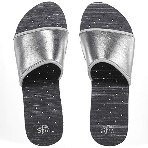 Showaflops Womens' Antimicrobial Shower & Water Sandals for Pool, Beach, Dorm and Gym - Silver Neoprene Slide 7/8