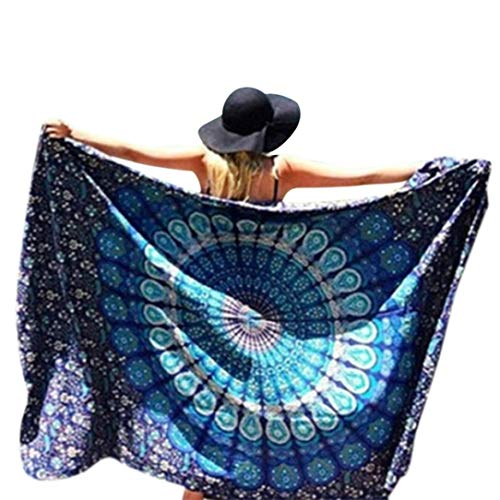 Usstore 148cmX210cm Bohemian Round Hippie Beach Throw Pool Home Beach Cover Up Dress Swimwear Bathing Suit Kimono Tunic Yoga Mat Fringing (B)