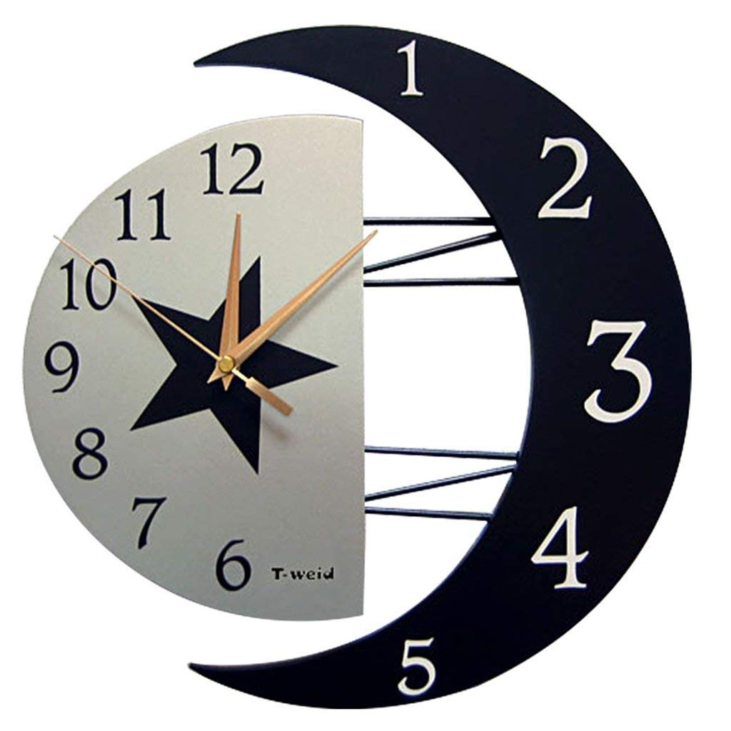Horloge /à Quartz Vintage fix/ée au Mur Horloge muette /à Suspendre avec 2 Types de d/écor pour Bureau /à la Maison avec d/écor bearivt Horloge Murale Gaeruite Moon avec Cadre Photo