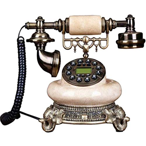 ZHOUYANG Teléfono Antiguo Decorativo, Teléfono con Cable Oficina del hogar Creativo Fijo Antiguo Europeo Retro Resina Teléfono