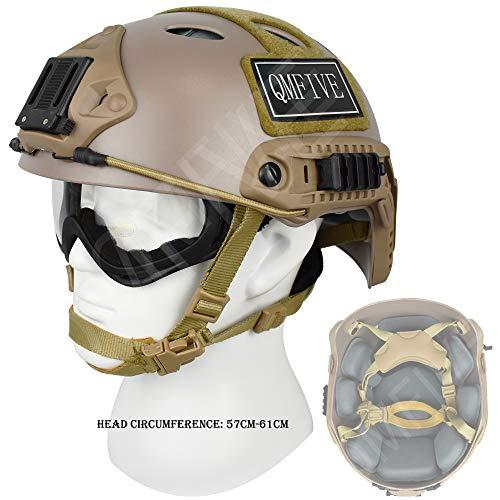 QMFIVE Airsoft Helm PJ Mode Helme Leichtbau Taktische Schnelle Helm und Schutzbrille für Airsoft Paintball (Wüste)