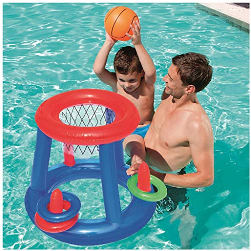 Purchase Flurries🏀Toy Inflatable Floating Basketball Hoop Set with Blow Up Ball Ring - Floating G...