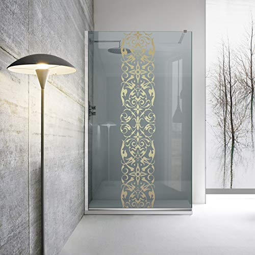 Modern Glass Art - Mampara de ducha Leroy Timeless (8 mm, cristal templado gris, nanorrevestimiento, accesorios de acero inoxidable SS304, 120 x 195 cm), color dorado