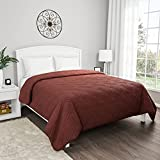 Lavish Home Braune Tagesdecke für King-Size-Bett, gestepptes Muster, weiche & leichte Bettwäsche für alle Jahreszeiten, einfarbige Tagesdecke, Schokoladenbraun