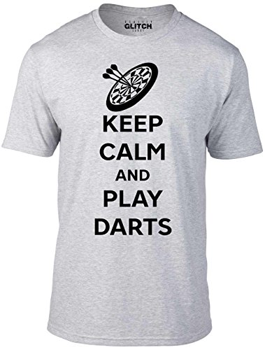 Reality Glitch Herren Keep Calm And Play Darts T-Shirt (Hellgrau, XXX-Large)