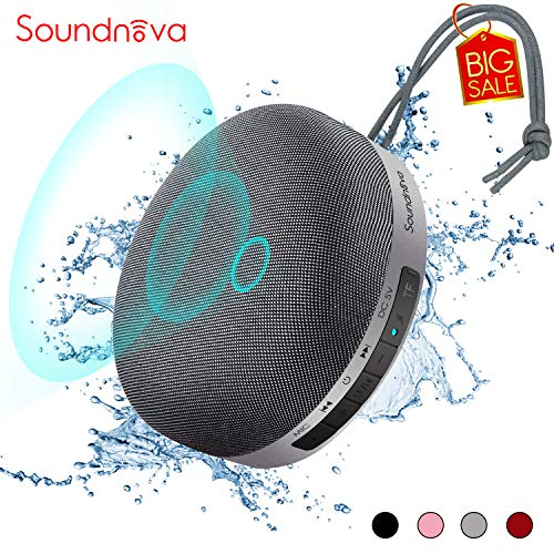 HiFi Soundnova N1 - Portable 6W Bass Bluetooth Speaker with Travel Case, Waterproof IPX4, Louder 3D Sound, 15H Playtime, Perfect Mini Wireless Speaker for iPhone iPad Phone Tablet Shower Party, Grey