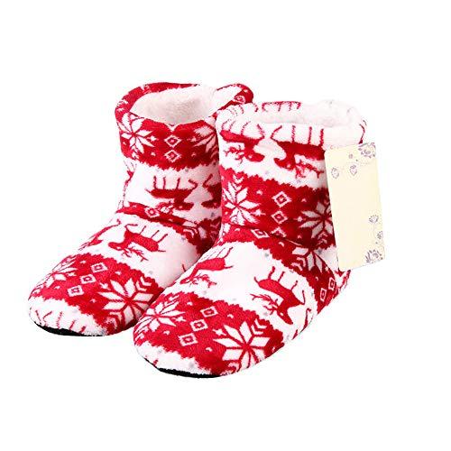 Winter Stiefel Hausschuhe Weihnachten Korallenrotes Vlies Rentier Print rutschfeste Sohle Stiefel Hausschuhe Hi-Top Hausschuhe Haus Innen Schuhe Geschenk für Männer Frauen
