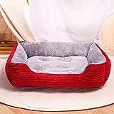 Eogrokerr Cama lavable para mascotas Sofá suave de forro polar coral para perros, cama para perros medianos y grandes (XL 80 x 60 cm), color rojo