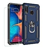 JOYTAG compatibles para Funda Samsung A20E,Carcasa +Cristal Templado Silicona TPU 360 Grados Anillo Giratorio magnético Soporte Caja del teléfono del Coche-Azul