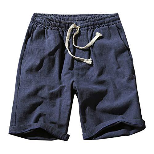Pantalones de Lino para Hombres, SUNNSEAN Pantalón Corto Deportivo Casual Liso Elástico Respirable Pantalón de Deportes Running Gimnasio, Pants de Verano, Pantalones de Playa
