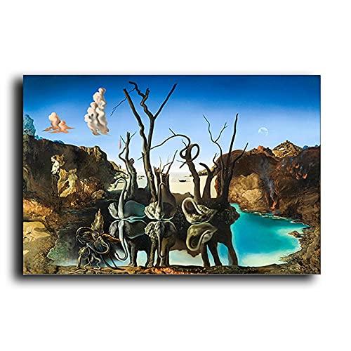 SHAZHU Tableau Decoration Murale Cygnes Reflétant Les Éléphants Abstrait Toile Peinture Affiches Et Art Mural Impression Image Salon Décor40x60cm