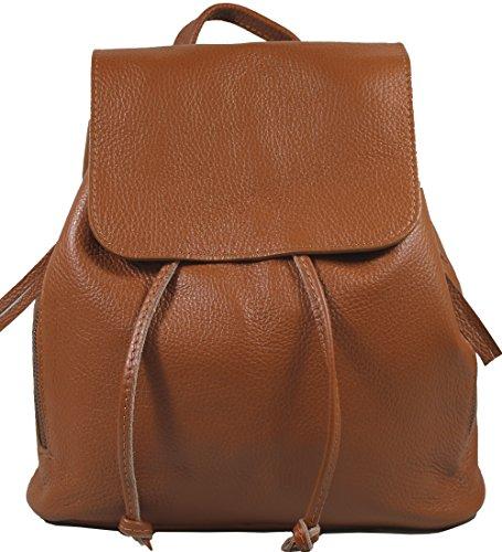 Ital. Echtleder Damen Rucksack Leichter Tagesrucksack Daypack Lederrucksack Damenrucksack versch. Farben erhältlich R01 (Cognac)