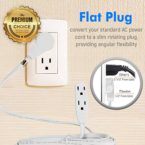 Maximm Cable 15 Ft 360° Rotating Flat Plug Extension Cord/Wire, 16 AWG Multi 3 Outlet Extension Wire, 3 Prong Grounded Wire - White - UL Listed