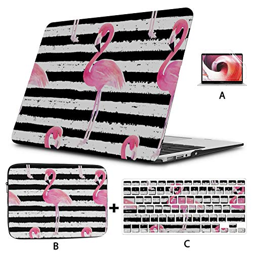 13inch MacBook Air Case Cool Striped Summer Flamingo Laptop Hard Case Hard Shell Mac Air 11'/13' Pro 13'/15'/16' with Notebook Sleeve Bag for MacBook 2008-2020 Version