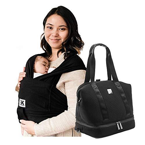 Baby K'tan Original Baby Wrap Carrier Black, X-Small and Diaper Bag Flex, Mesh Black