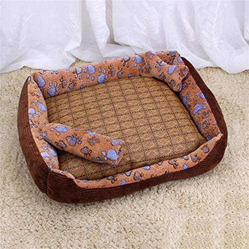LINZXU-klein en middelgroot hondenbed wasbaar hondenmand met omkeerbaar kussen zacht 4-delige set botspeelgoed deken rotan mat huisdierbed