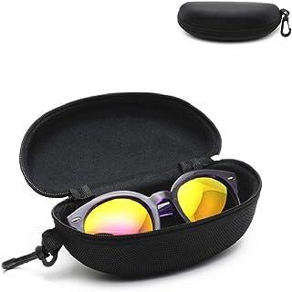 Eyeglasses Case, Semi-Hard EVA Sunglasses Box, Zipper Clam Shell Pouch Bag, Black