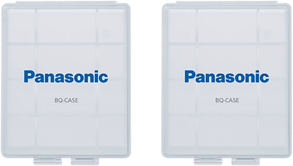 Panasonic BQ-CASE2SA eneloop Battery Storage Cases with 4AA or 5AAA Battery Capacity, Clear, Pack of 2