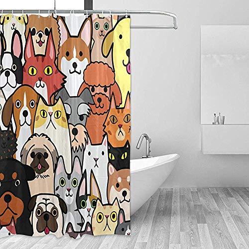 GABRI Niedliche H&e Katzen Schaf Duschvorhang Set für Zuhause Polyester Wasserdicht Stoff Badezimmer mit Haken 36x72 inch