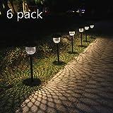 Lampadaires solaires d'extérieur Pack de 6 Lampadaires solaires de jardin Imperméables LED Blanc chaud Lampadaires de paysage Cadeaux de jardin Décorations de jardin Trottoir Gazon (Bronze)