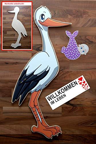 SET - 95 cm Babystorch aus HOLZ & Baby MÄDCHEN & Beschriftungstafel für draußen Geburt Storch-Holz Klapperstorch Holzstorch ROSA (EINSEITIG bedruckt, 95x45 cm)