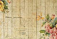 Qinunipoto 背景布 写真撮影用 背景 布 復古カラー 花 女の子の撮影 英語の文字 撮影 写真の背景 きのいた 木の板 子供の写真 ポートレート 写真館 無反射布 写真スタジオ 撮影用道具 生放送 ビニール 1.8x1.2m