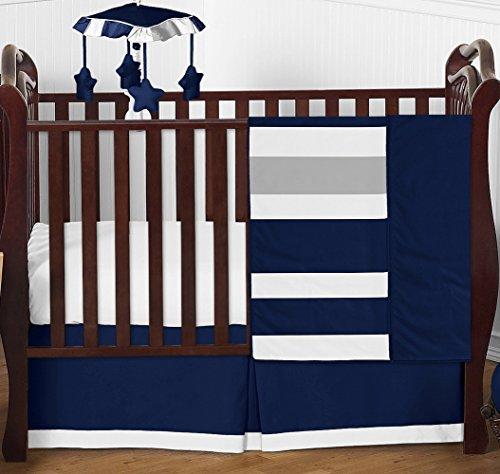Sweet Jojo Designs Navy and Grey Stripe Baby Boy Girl Nursery Crib Bedding Set - 4 Pieces - Blue, Gray and White Gender Neutral