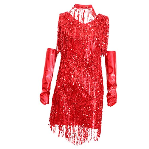 non-brand 3 In 1 Damen Pailletten Tiefer V 1920er Stil Flappers Kleider Troddel Great Gatsby Motto Party Kleider Retro Kostüm Tanzkleid Tangokleid - Rot, M