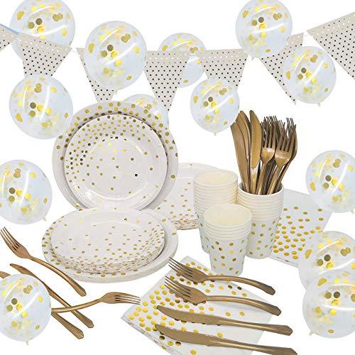 ECHOAN 161 Pcs Blanc Vaisselle de Fête, Jetable Vaisselle d'anniversaire, Plaques, Coupes, Serviettes Et Ballon Confettis,Bannière, 25 Invités