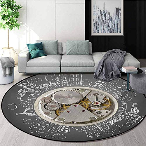Buy Discount RUGSMAT Clock Round Area Rugs Bedroom,an Alarm Clock Print with Buildings and Clouds Ar...