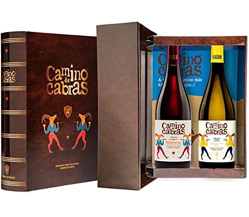 CAMINO DE CABRAS Estuche de vino – Ribeiro D.O. Ribeiro Vino blanco + Mencía Crianza D.O. Valdeorras Vino tinto – Producto Gourmet - Vino para regalar - 2 botellas x 750 ml.