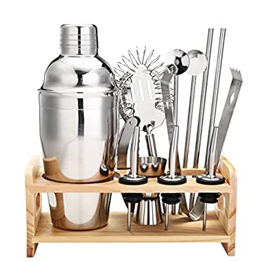 13 Piece Cocktail Shaker Home Bar Set Bartender Kit by Godmorn ,18 oz Stainless Steel Martini Shaker with Wooden Stand ,Double Jigger ,Bottle Opener ,2 Pourers ,Bonus 20 Cocktail Recipes Booklet