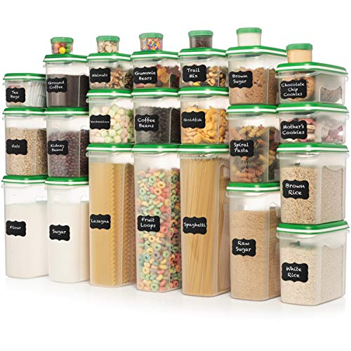 ULTIMATE LARGEST Set of 56 Pc Food Storage Containers 28 Container Set Shazo Airtight Dry Food Space Saver with Two Type Interchangeable Lids Labels  Marker  One Lid Fits All Reusable GREEN
