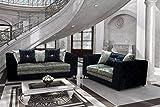 Belle Dior gecrushter Samt Sofa Serie, Kunstleder, schwarz/Silber, 3 + 2 Seater Set