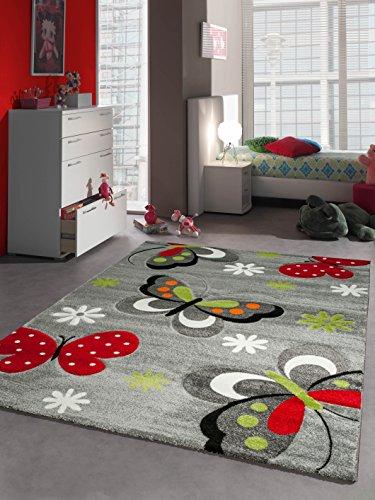 Tapis pour Enfant Papillon Tapis de Jeu Gris Rouge Vert Noir Blanc Taille 160 x 230 cm