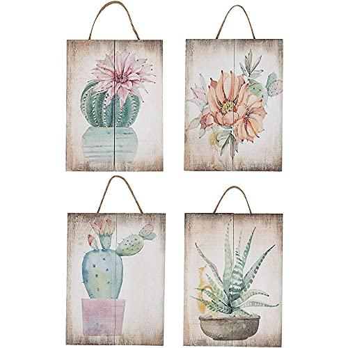 Juvale Adorno de pared de madera, 4 piezas pequeñas decoraciones colgantes diseño de cactus suculentas, decoración natural, sala de estar, pasillo, comedor, 20,3 x 15 x 2,3 cm