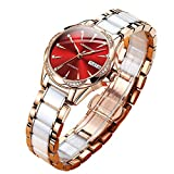 Red Dial Automatic Self Winding Watches for Women Small Wrist Ladies White Rose Gold Tone Ceramic Stainless Steel Watch,Women's Luxury Waterproof Calendar Shiny Diamond Watch Sapphire Crystal