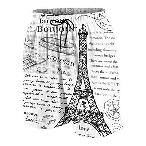 YANAIX Hommes Short de Bain Séchage Rapide,Tour Eiffel de Paris Vintage dessiné à la Main,3D Printed Été Garçons Court de Plage Boardshort XXL
