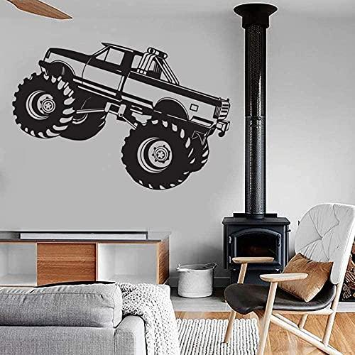 Etiqueta de la pared Monster Truck Body Repair Shop Garage People Cave Kid Boy Boy Dormitorio Home Cooling Vinyl Wall Sticker 57X38Cm