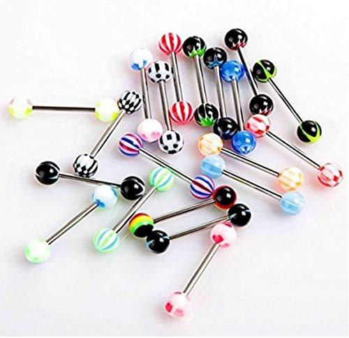 Pack de 20 Coloridas Bola de Acero Inoxidable con Barra Anillos de la Lengua Barras Que perforan la cosmética (Tipo 1: 20 Piezas)