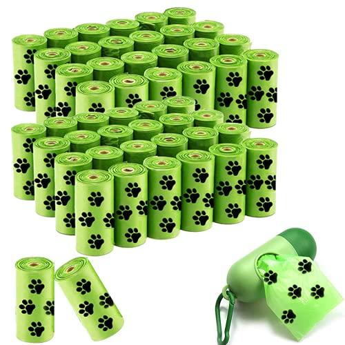 Hundekotbeutel - Hundekotbeutel mit Spender, reißfest auslaufsicher strapazierfest, 50 Rollen, 750 Müllsäcke für Haustiere (Grün)