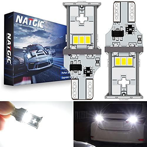 NATGIC T15 W16W 921 912 Ampoules LED Blanc Xénon 6500K 1800LM 10pcs 3020SMD Chipsets CanBus sans Erreur pour Feu Stop, Feu de Recul, Feu de Stationnement, Feu Arrière, 10-16V (Paquet de 2)