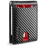 RUNBOX Minimalista Slim Wallet para hombres con clip de dinero RFID bloqueo bolsillo frontal cuero carteras para hombre - negro - Small