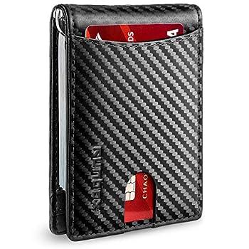 RUNBOX Minimalist Slim Wallet for Men with Money Clip RFID Blocking Front Pocket Leather Mens Wallets carbon black
