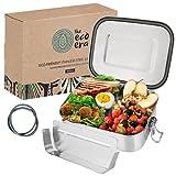 Edelstahl Brotdose & Lunchbox, auslaufsichere umweltfreundliche Eco Bento Box, plastikfrei mit flexiblen Fächern, Verschlussclips, einfach zu reinigen - 800ml