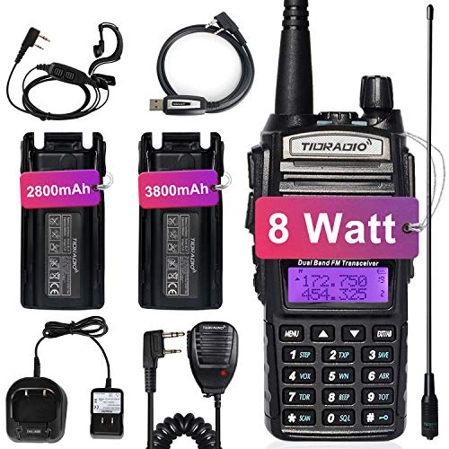 TIDRADIO UV-82 Ham Radio Handheld High Power Two Way Radio with One More 3800mAh Battery and Programming Cable,Long Antenna 1Pack