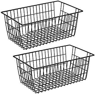 SANNO Black Farmhouse Organizer Storage Bins Large Organizer Bins for Food Storage Freezer, Office, Bathroom, Pantry Organ...