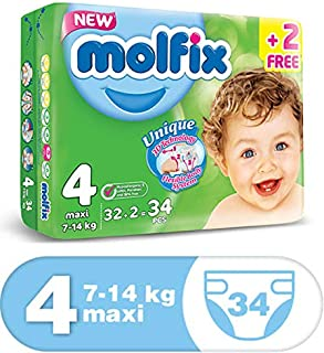 Molfix Anti Leakage Comfortable Maxi Baby Diapers, 7-14 kg, 34 Count (5047418)