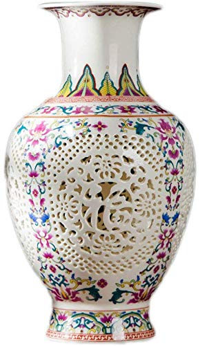 Figurines Decoración moderna china flor arreglo decorativo porcelana Fanjiani blanco hueco pastel sentimientos estéticos cerámica JXLBB (tamaño : estilo ocho)